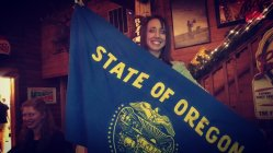 Josh got me the Oregon flag for graduation!