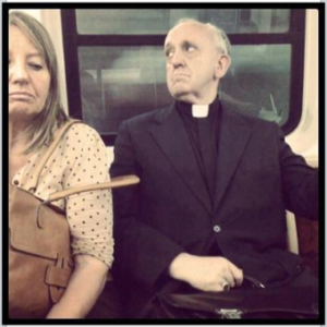 Our new Pope, Pope Francis, in his Cardinal days in Buenos Aires, riding the bus to work.