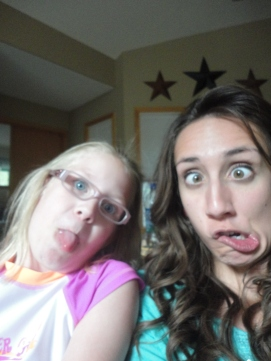 Rochelle, my silly little cousin, and I