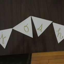 you can't see the whole thing (obvs) but I made a birthday banner with gold-flecked cardstock and gold pen.