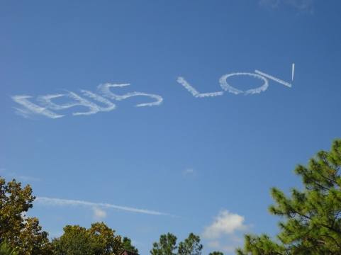 a plane was writing Jesus Loves U in the sky. I couldn't catch the whole thing because a cloud floated in front of my view.