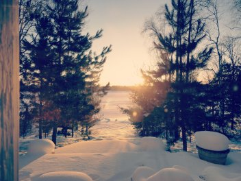 the sun rises on lake bemidji.