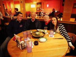 Applebees with Grandma and Grandpa Hammer. Thanks to Andrew and Emily Hammer for dinner since they gave the giftcard! :)