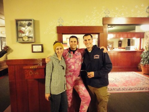 one drunk bachelor. Companions put him into some pink camo duck dynasty jammies and were having everyone sign him.