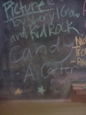 At Caribou. what song would you like to listen to for the rest of your life? Candy - A. Carter. yeah buddy.