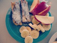 French toast roll ups and fruit,