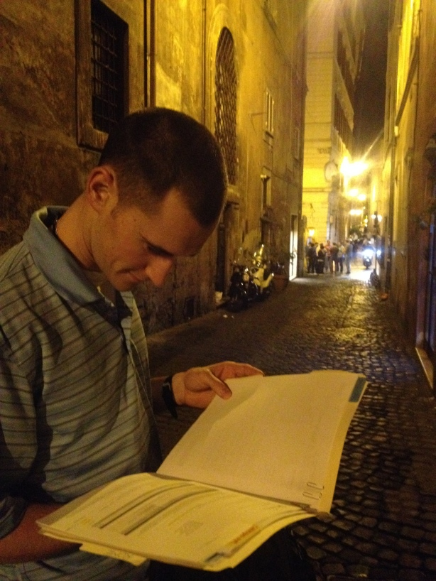 Looking at our notes as we wait for the Rental in Rome rep.