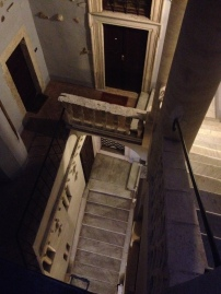 looking down the stairs right by our apartment door.