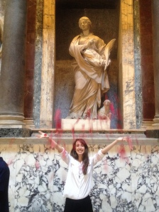 Celebrated Pentecost Sunday at the Pantheon. Through the oculous at the top, they drop down thousands of rose petals as the Spirit's Tongues of Fire at the end of Mass. So beautiful!