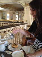 Angelina's signature tea, The Angelina, and a peach pastry