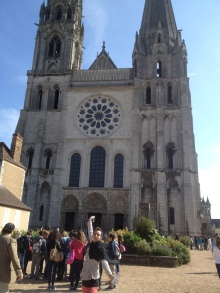 Chartres Cathedral in Chartres, France. This is the church that holds the Sancta Camisa - the garment believed to be worn by our Lady during the birth of Christ.