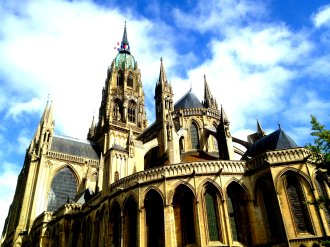 Bayeux Cathedral. I loved Bayeux, and I loved this church. While it may be a destination for tourists, it still felt that the focus was Christ, prayer, the Sacraments. You could tell it was the home parish for many. Sometimes very popular Cathedrals (even though they probably are devout and served by holy priests and lay people) can feel so touristy and it's hard to pray. But I just loved Bayeux and the feeling of holy, quiet reverence there.