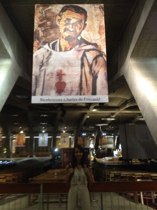In one of the churches there are giant posters of Saints and Blesseds. This one is for Mother Olga - Blessed Charles de Foucauld!