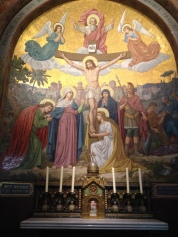 Inside the Basilica there is a mosaic for each Mystery of the Rosary. Each Mystery is a moment in the life of Christ that serves as a meditation, drawing us into the Gospel, as we pray.