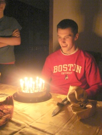 Celebrating Josh's 19th birthday; his first year at BU