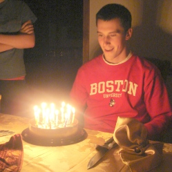 Celebrating Josh's 19th birthday; his first year at BU