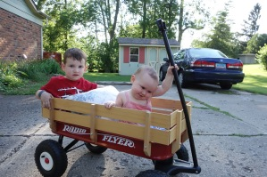Summer fun - they loved riding in the wagon