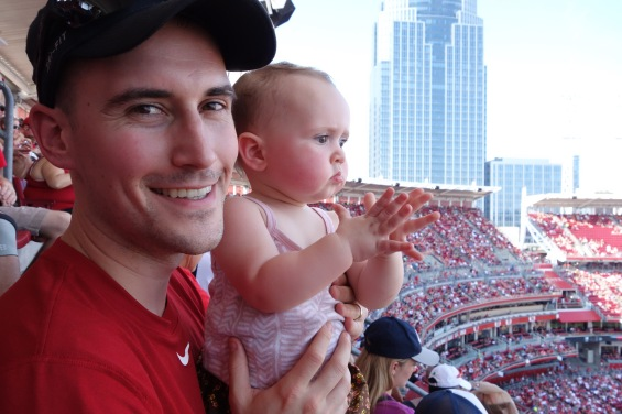 Abby's first baseball game! The Reds versus Red Sox