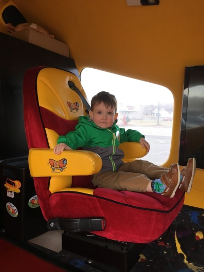 """Inside the Oscar Meyer Wienermobile parked at our grocery store. JP talked about the """"Hot Dog Car"""" or months."""